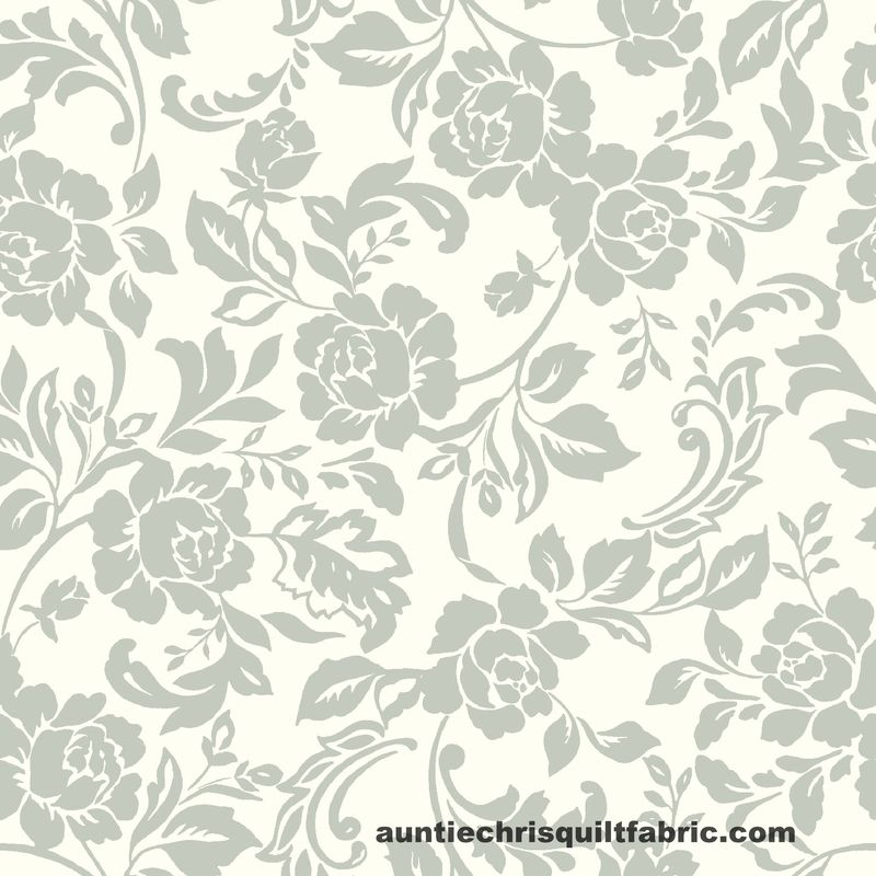 Cotton Quilt Fabric Stitch & Sparkle Dark Romance Rose Floral Silver White Gray - product images  of