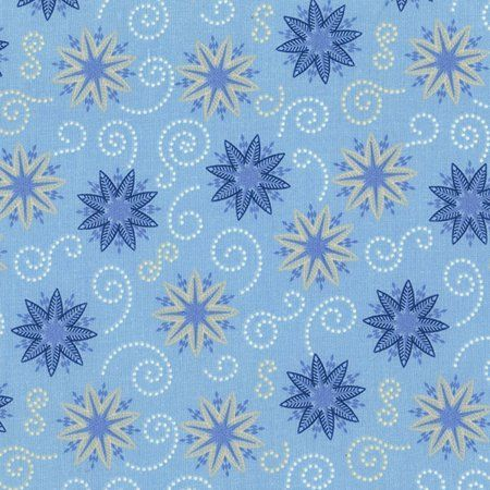 Cotton Quilt Fabric BOHEMIAN BLUES POWDER SMALL MEDALLIONS Snowflakes - product images  of
