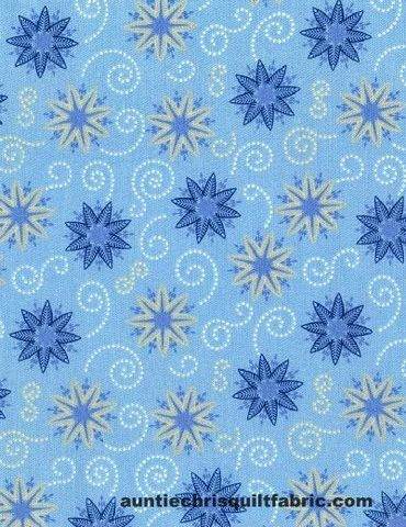 Cotton,Quilt,Fabric,BOHEMIAN,BLUES,POWDER,SMALL,MEDALLIONS,Snowflakes,,quilt backing, dresses, quilt fabric,cotton material,auntie chris quilt,sewing,crafts,quilting,online fabric,sale fabric