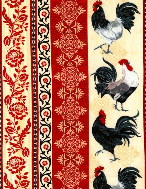 Cotton Quilt Fabric Timeless Treasures Ruth Rooster Taupe Border Print - product images  of
