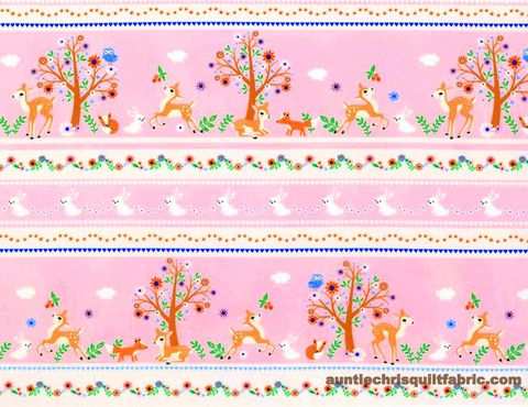 Cotton,Quilt,Fabric,Storybook,Forest,Bunnies,&,Deer,Stripe,,quilt backing, dresses, quilt fabric,cotton material,auntie chris quilt,sewing,crafts,quilting,online fabric,sale fabric