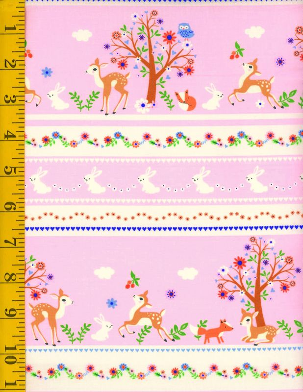 Cotton Quilt Fabric Storybook Forest Bunnies & Deer Stripe - product images  of