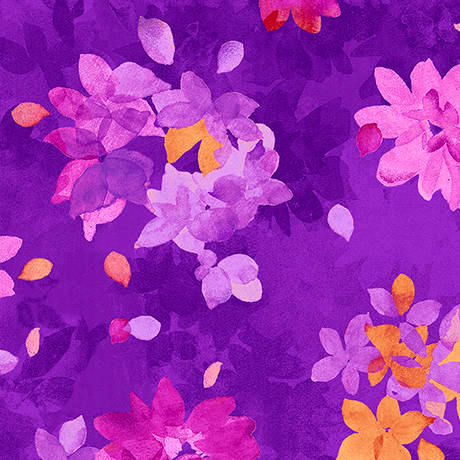 Cotton Quilt Fabric Soiree Purple Spaced Watercolor Floral Leaves - product images  of