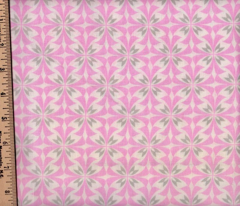 Cotton Quilt Fabric Concord House Nursery Grace Flutter Pink Gray - product images  of