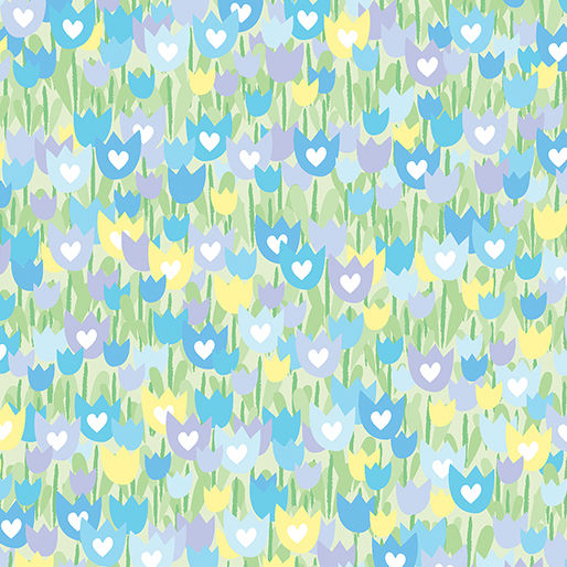 Cotton Quilt Fabric Spring Parade TULIP GARDEN MINT/BLUE - product images  of