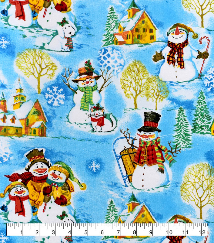 Cotton Quilt Fabric Flannel Christmas Snowman Family Winter  - product images  of