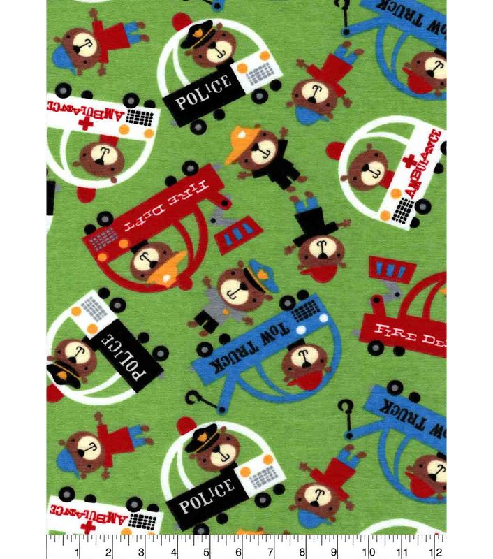 Cotton Quilt Fabric Flannel Teddy Traffic Rescue Police Firemen Green Multi - product images  of