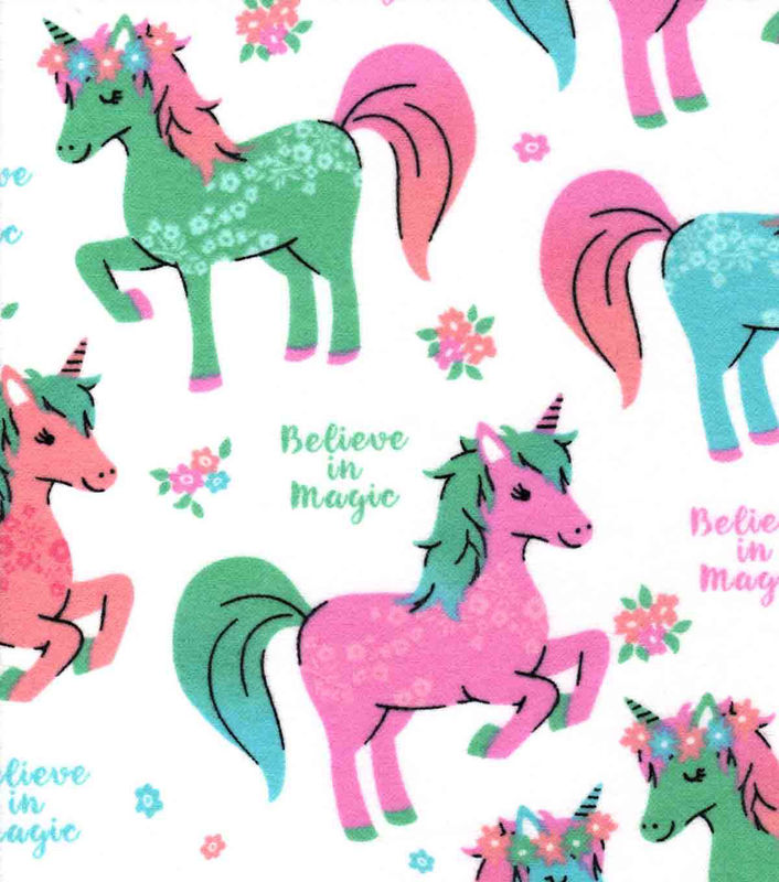 Cotton Quilt Fabric Flannel Believe in Magic & Unicorns White Multi - product image