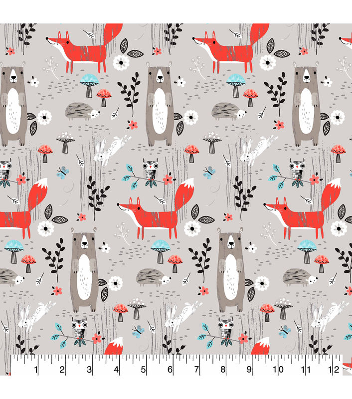 Cotton Quilt Fabric Flannel Forest Creature Scenes Gray Multi - product images  of