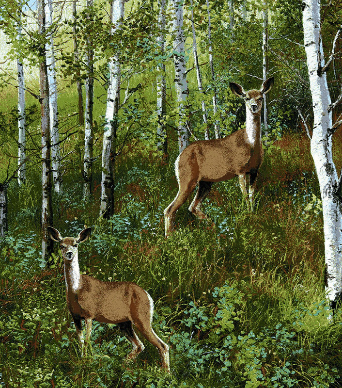 Cotton Quilt Fabric Flannel Realistic Deer in Woods  - product image