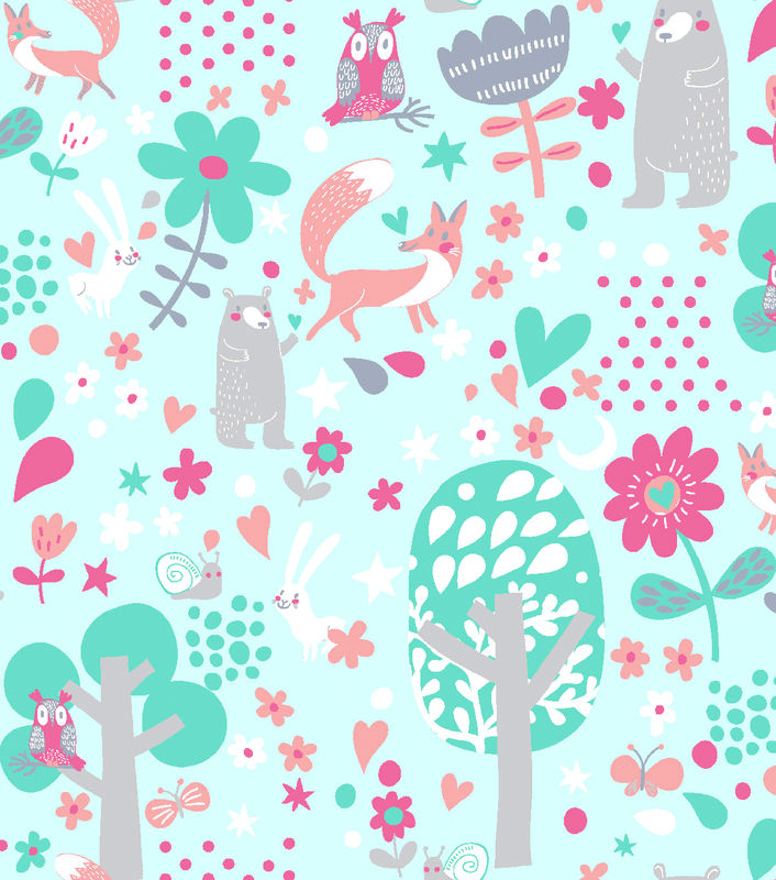 Cotton Quilt Fabric Flannel Woodland Animals Girls Floral Blue Multi - product image