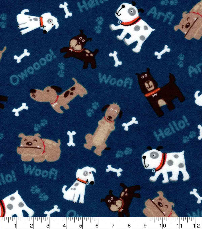 Cotton Quilt Fabric Flannel Tossed Pups On Blue Multi Dogs Puppies - product images  of