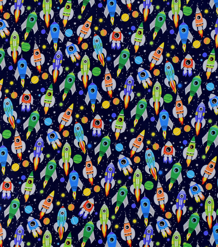 Cotton Quilt Fabric Flannel Spaceships Takeoff Planets Astronauts  - product images  of