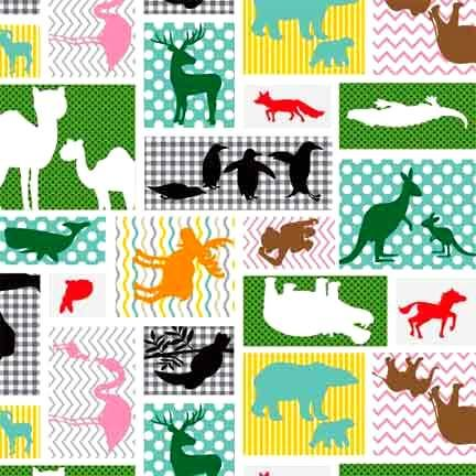 Cotton Quilt Fabric Little Explorers Patchwork Jungle Animals Studio E - product images  of