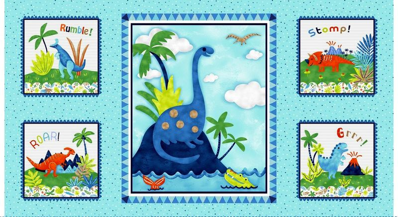 Cotton Quilt Fabric Panel Hear Me Roar! Dinosaurs Blue Multi - product images  of
