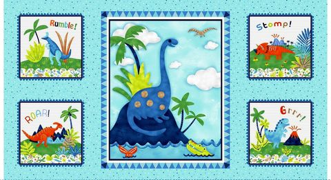 Cotton,Quilt,Fabric,Panel,Hear,Me,Roar!,Dinosaurs,Blue,Multi,,quilt backing, dresses, quilt fabric,cotton material,auntie chris quilt,sewing,crafts,quilting,online fabric,sale fabric
