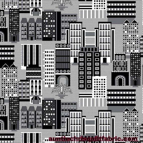 Cotton Quilt Fabric Super Hero Cityscape Graphic Black White Gray - product images  of