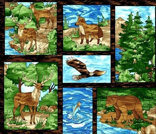 Cotton Quilt Fabric Studio E Mosaic Forest Large Blocks Deer Bear Fish - product images  of