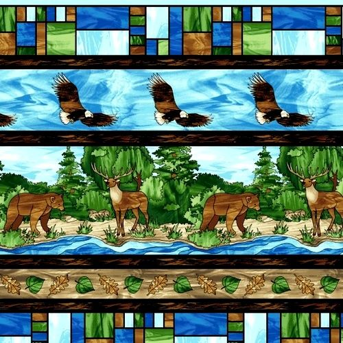Cotton Quilt Fabric Studio E Mosaic Forest Border Stripe Deer Bear Fish - product images  of