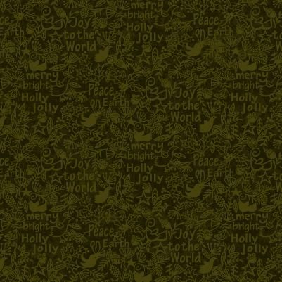 Cotton Quilt Fabric Christmas Believe Tonal Peace Joy Merry Words Forest Green - product images  of
