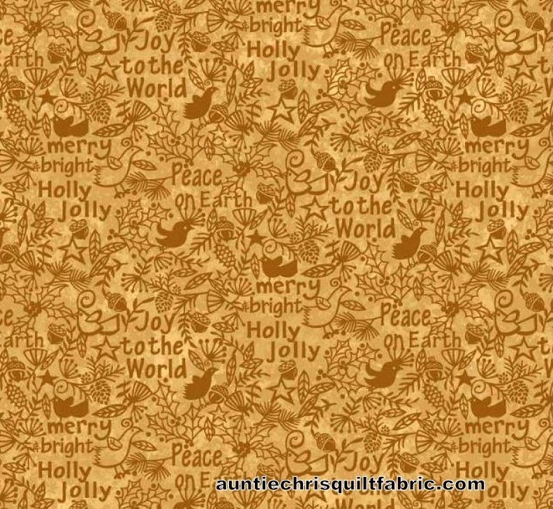 Cotton Quilt Fabric Christmas Believe Tonal Peace Joy Merry Words Tan Gold - product images  of