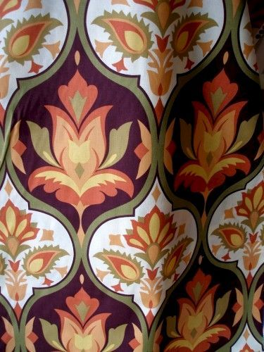 Cotton Quilt Fabric Porto Large Floral Medallion Rust Olive - product images  of