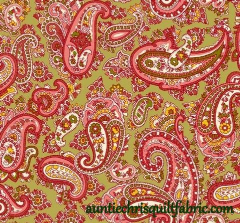 Cotton,Quilt,Fabric,Windsor,Park,Paisley,Green,Pink,Multi,,quilt backing, dresses, quilt fabric,cotton material,auntie chris quilt,sewing,crafts,quilting,online fabric,sale fabric