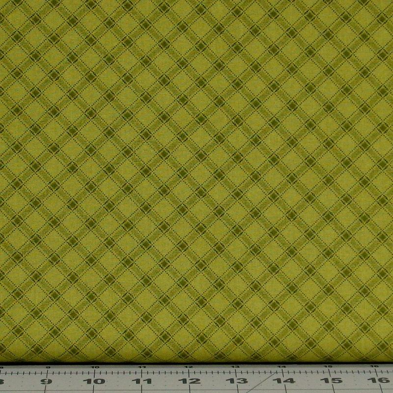 Cotton Quilt Fabric Farmstead Harvest Bias Ticking Stripe Green Kim Diehl Green  - product images  of