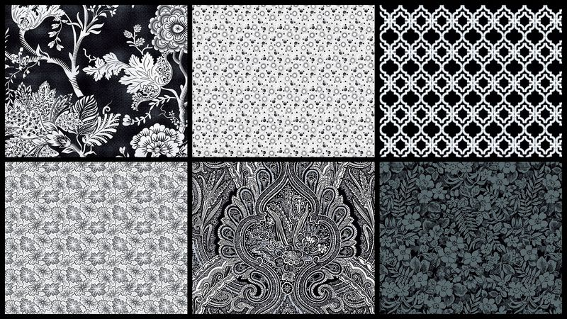 Cotton Quilt Fabric 3Yd Starlight Garden Black White Medley - product images  of