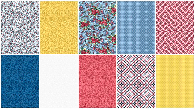 Cotton Quilt Fabric Country Fair Summer Memories 2 1/2 Yard Medley - product images  of