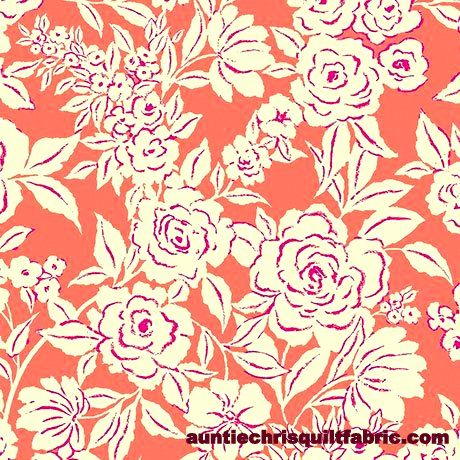 Cotton,Quilt,Fabric,Zola,Etched,Floral,Coral,by,Ink,&,Arrow,,quilt backing, dresses, quilt fabric,cotton material,auntie chris quilt,sewing,crafts,quilting,online fabric,sale fabric