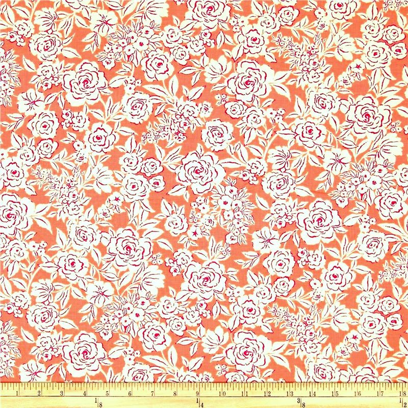 Cotton Quilt Fabric Zola Etched Floral Coral by Ink & Arrow  - product images  of