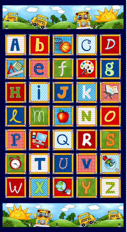 "Cotton Quilt Fabric School Zone Alphabet Multi 24"" Panel  - product images  of"