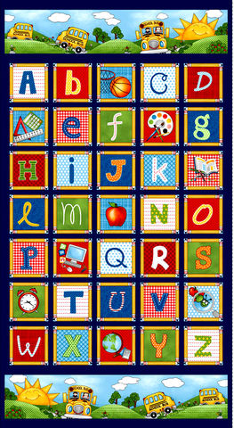 Cotton,Quilt,Fabric,School,Zone,Alphabet,Multi,24,Panel,,quilt backing, dresses, quilt fabric,cotton material,auntie chris quilt,sewing,crafts,quilting,online fabric,sale fabric