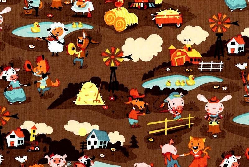 Cotton Quilt Fabric Harmony Farm Main Brown Riley Blake Designs - product images  of