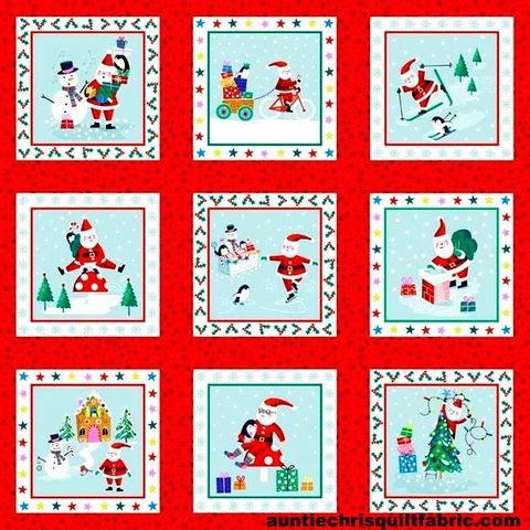 Cotton,Quilt,Fabric,Christmas,Jolly,Santa,Blocks,Snowmen,,quilt backing, dresses, quilt fabric,cotton material,auntie chris quilt,sewing,crafts,quilting,online fabric,sale fabric