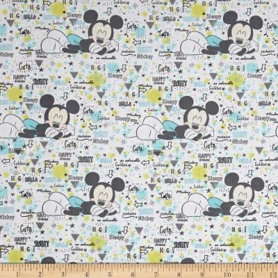 Cotton Quilt Fabric Disney Mickey Nursery Peekaboo Mickey White Multi - product images  of