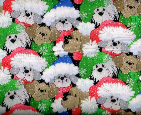 Cotton,Quilt,Fabric,Christmas,Packed,Santa,Pups,Glitter,,quilt backing, dresses, quilt fabric,cotton material,auntie chris quilt,sewing,crafts,quilting,online fabric,sale fabric