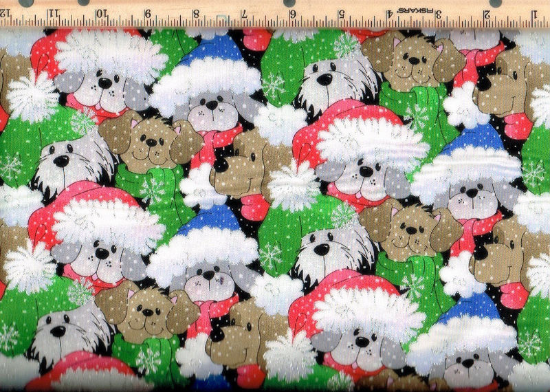 Cotton Quilt Fabric Christmas Packed Santa Pups Glitter    - product images  of