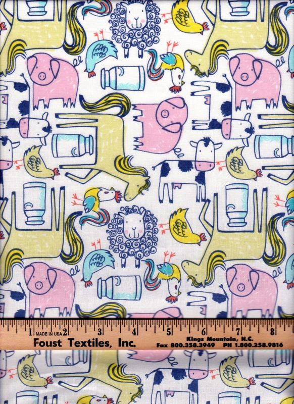 Cotton Quilt Fabric Dear Stella Barnstorm Barn Animals Modern Farm - product images  of