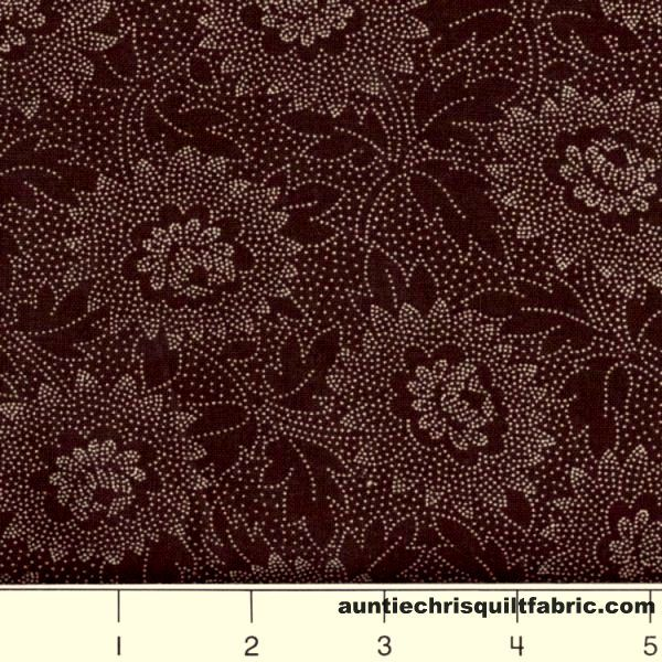 Cotton Quilt Fabric Lacy Etched Floral Chocolate Brown - product image