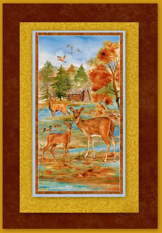 Easy Fabric Panel Quilt Kit Deer Meadow Nature Wall/Nap Quilt - product images  of