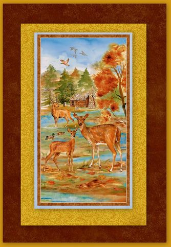 Easy,Fabric,Panel,Quilt,Kit,Deer,Meadow,Nature,Wall/Nap,kit,quilt fabric,cotton material,auntie chris quilt,sewing,crafts,quilting,online fabric,sale fabric
