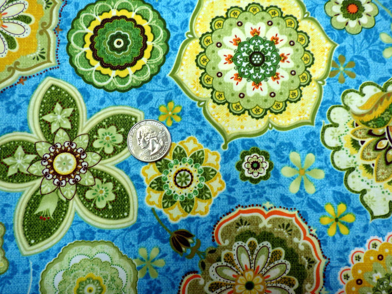 Cotton Quilt Fabric Willow Jacobean Floral Ink & Arrow Teal Blue Multi  - product images  of