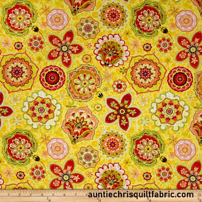 Cotton Quilt Fabric Willow Jacobean Floral Ink & Arrow Yellow Peach Multi  - product images  of