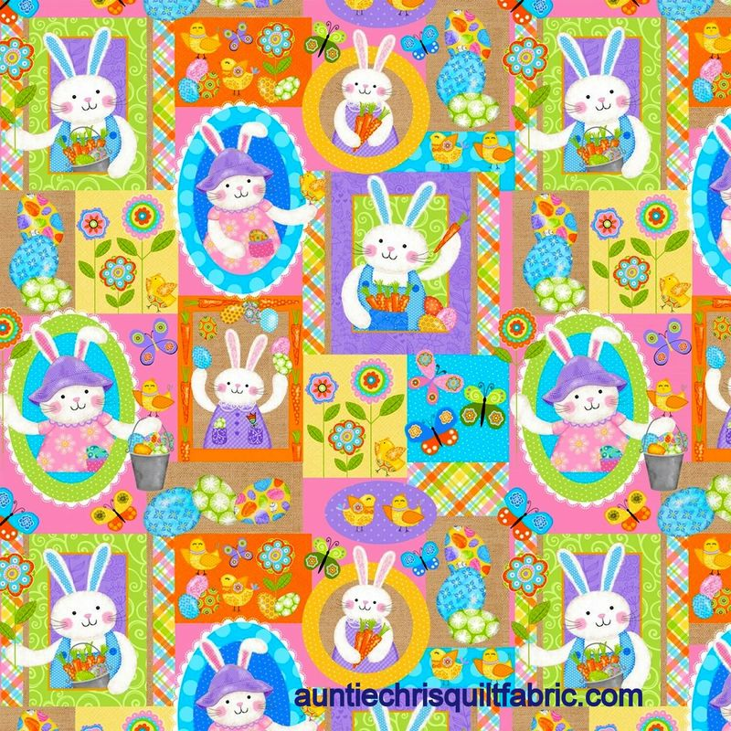 Cotton Quilt Fabric Carrot Patch Bunny Patch Easter Spring Multi - product images  of