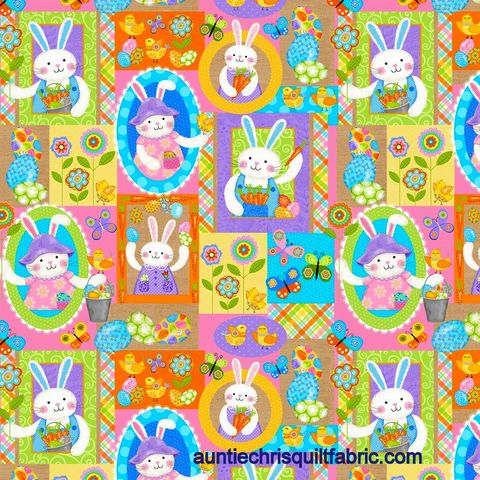 Cotton,Quilt,Fabric,Carrot,Patch,Bunny,Easter,Spring,Multi,,quilt backing, dresses, quilt fabric,cotton material,auntie chris quilt,sewing,crafts,quilting,online fabric,sale fabric