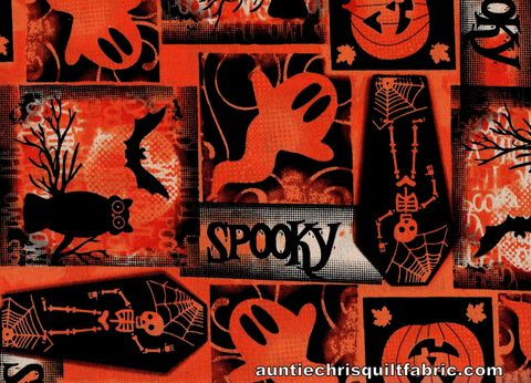 Cotton,Quilt,Fabric,Spooky,Halloween,Patch,Skeletons,Ghosts,Pumpkins,,quilt backing, dresses, quilt fabric,cotton material,auntie chris quilt,sewing,crafts,quilting,online fabric,sale fabric