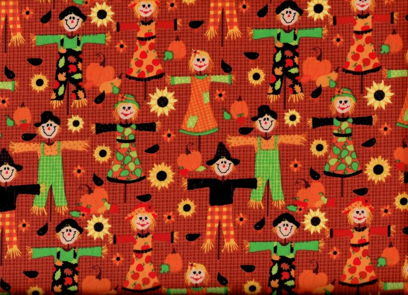 Cotton Quilt Fabric Patterned Scarecrows Autumn Harvest Fall - product image