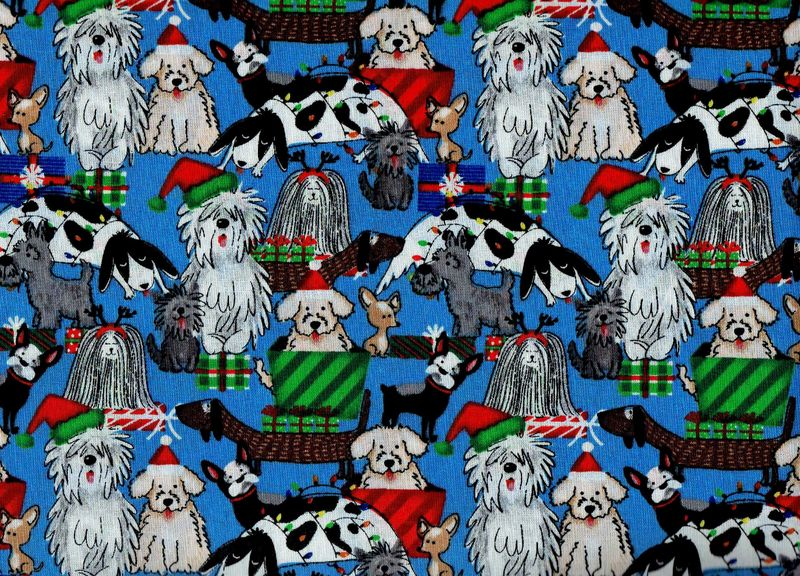 Cotton Quilt Fabric Christmas Puppy Presents Holiday Pets - product image